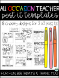 Printable Post-It's, Template: Teacher Fun, Birthday and Thank You
