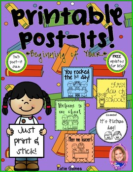 Printable Post-Its: Beginning of the Year- FREE UPDATES FOR LIFE!