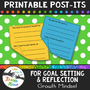 Printable Post-Its: Goal Setting & Reflection (Growth Mindset)