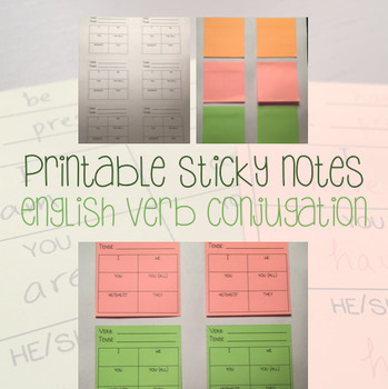 image relating to Printable Sticky Notes identified as Printable Posting Its - Sticky Notes - English Verb Conjugation Chart