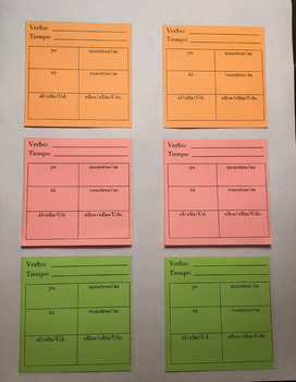 Printable Post Its - Sticky Notes - Spanish Verb Conjugation Chart
