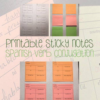picture about Printable Sticky Notes named Printable Report Its - Sticky Notes - Spanish Verb Conjugation Chart