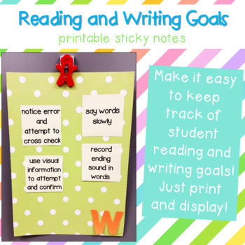 Printable Sticky Notes for Student Goals {Editable!}