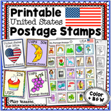 Printable Postage Stamps for Post Office Pretend Play, USA