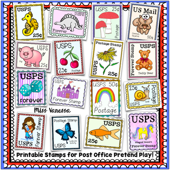 printable postage stamps for post office pretend play usa by miss