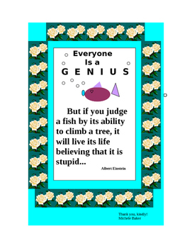 Printable Poster Albert Einstein Quote for the Class room