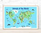 Printable Poster Animal Map of the World