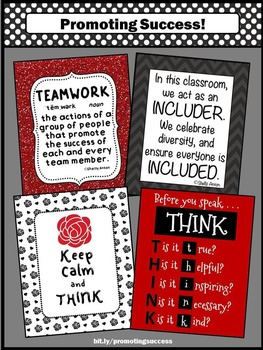 Red and Black Classroom Decor BUNDLE Before You Speak THINK Posters