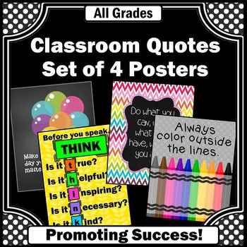Rainbow Classroom Decor, Motivational Posters, Before You Speak THINK