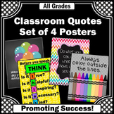 Rainbow Classroom Decor, Motivational Quote Posters, Before You Speak THINK