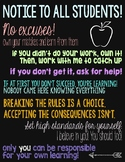 """Printable Poster: Classroom Expectations """"Notice to All Students"""""""