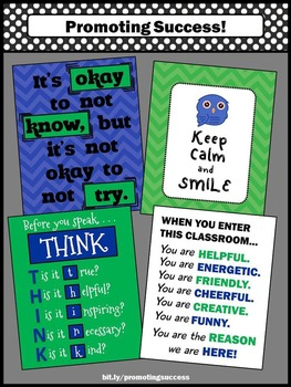 Classroom Rules Poster Set Green & Blue Back to School Decor