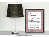 Count Your Blessings Encouragement Quote, Christian Classroom Poster 8x10 16x20