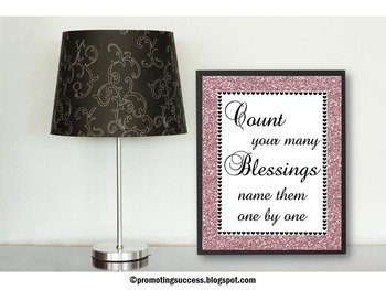 Count Your Blessings Inspirational Quote Poster Religion E