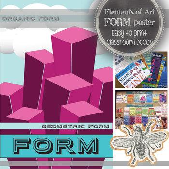 Elements of Art, Form, Classroom Poster: Modern, Bright Art Class Decoration