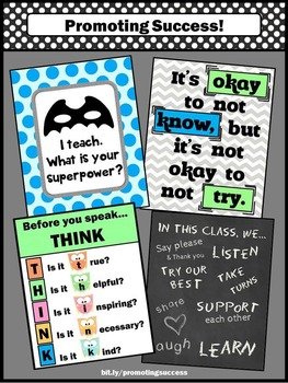 Owls Classroom Theme, Before You Speak THINK, Okay to Not Know