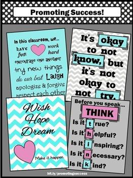 Classroom Rules, Aqua & Pink Classroom Decor, Printable Classroom Posters