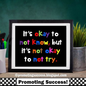 Inspirational Poster It's Okay to Not Know Quote ~ Special Education Classroom