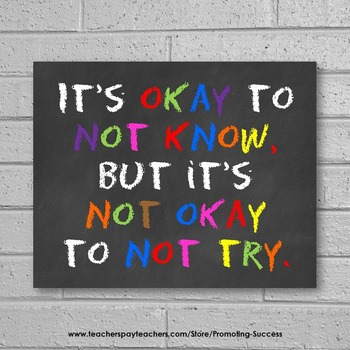 It's Okay to Not Know, Chalkboard Classroom Decor, Inspirational Quote Poster