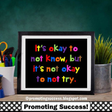 Special Education Poster, Motivational Quote Okay to Not Know