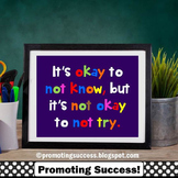 It's Okay to Not Know Motivational Quote Poster, Purple Classroom Decor