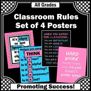 Classroom Rules Posters Decor, Pink and Blue Motivational Quotes