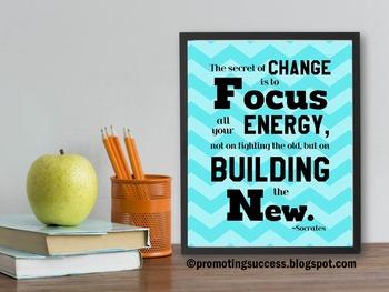 Inspirational Poster Socrates Quote Chevron Classroom Deco
