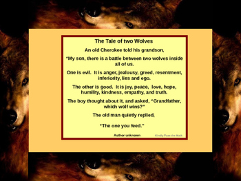 """Printable:  Poster for the classroom """"The Tale of Two Wolves"""""""