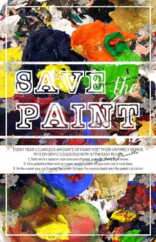 Printable Poster, Visual Arts Classroom: Save the Paint Decoration and Info