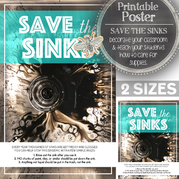 Printable Poster, Visual Arts Classroom: Save the Sinks! Caring for Supples