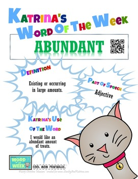 Printable Poster for Word of the Week: ABUNDANT Literacy & Vocabulary Builder