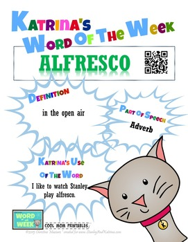 Printable Poster for Word of the Week: ALFRESCO Literacy &