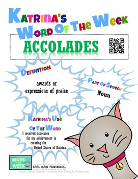 Printable Poster for Word of the Week: ACCOLADES Literacy & Vocabulary Builder