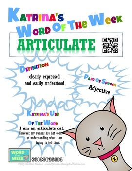 Printable Poster for Word of the Week: ARTICULATE Literacy