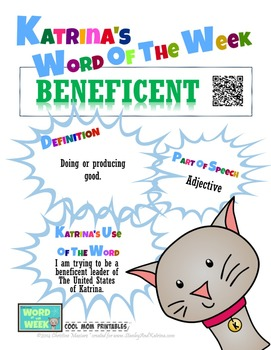 Printable Poster for Word of the Week: BENEFICENT Literacy & Vocabulary Builder