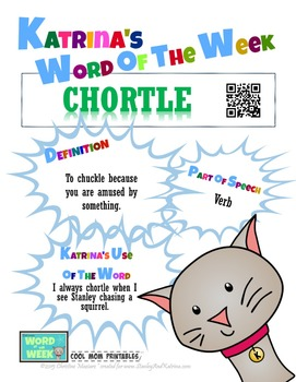 Printable Poster for Word of the Week: CHORTLE Literacy & Vocabulary Builder