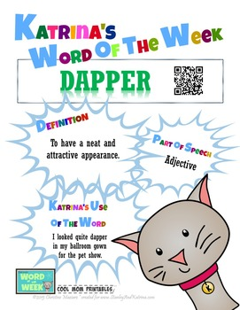 Printable Poster for Word of the Week: DAPPER Literacy & V