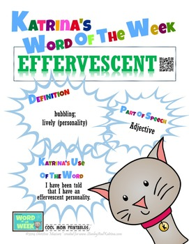 Printable Poster for Word of the Week: EFFERVESCENT Literacy & Vocabulary