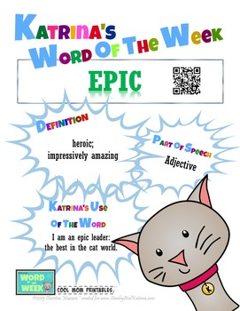 Printable Poster for Word of the Week: EPIC Literacy & Vocabulary Builder