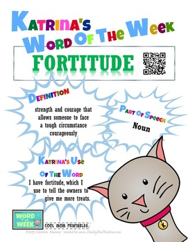 Printable Poster for Word of the Week: FORTITUDE Literacy & Vocabulary Builder