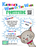 Printable Poster for Word of the Week: FORTITUDE Literacy