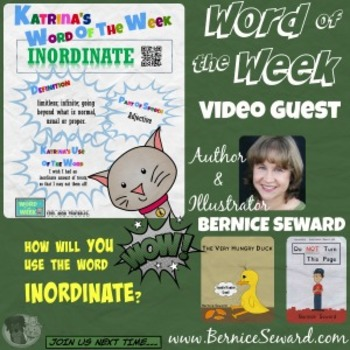 Printable Poster for Word of the Week: INORDINATE Literacy & Vocabulary Builder