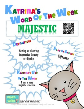 Printable Poster for Word of the Week: MAJESTIC Literacy & Vocabulary Builder
