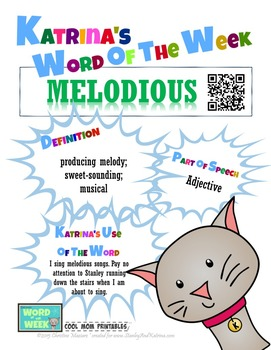 Printable Poster for Word of the Week: MELODIOUS Literacy & Vocabulary Builder