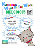 Printable Poster for Word of the Week: MELODIOUS Literacy
