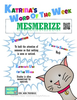 Printable Poster for Word of the Week: MESMERIZE Literacy & Vocabulary Builder