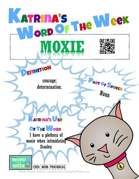 Printable Poster for Word of the Week: MOXIE Literacy & Vo