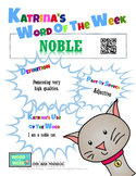 Printable Poster for Word of the Week: NOBLE Literacy & Vo