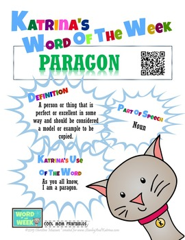 Printable Poster for Word of the Week: PARAGON Literacy & Vocabulary Builder