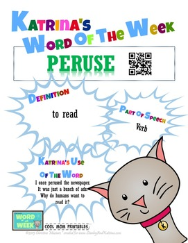Printable Poster for Word of the Week: PERUSE Literacy & Vocabulary Builder